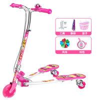 儿童蛙式滑板车3-12岁8小孩初学者男女三轮摇摆滑滑车溜溜6剪刀车 双刹闪光轮 (粉色)