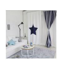 简约现代北欧卧室阳台飘窗落地窗儿童房短窗遮光布 网红窗帘成品k 蓝色星星+蓝灰条纹 (挂钩款)