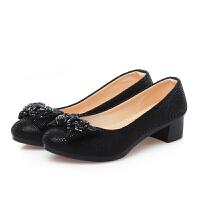 春秋老北京布鞋女鞋单鞋中跟粗跟休闲鞋黑色工作鞋女士 黑色 35