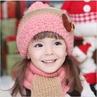 秋冬儿童围巾毛线帽子宝宝冬季护耳套头帽小女孩针织童帽2件套装