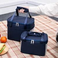 饭盒袋午餐便当包保温袋包帆布手拎妈咪包带饭的手提袋铝箔加厚
