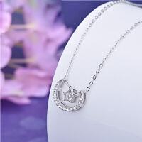 时尚韩版锆钻项链 925银百搭套链星星月亮吊坠 情人节礼物送女友 星星月亮套链