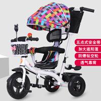 儿童三轮车脚踏车1-3岁车子带娃遛娃溜娃神器小孩婴儿宝宝手推车 白色 白辣妈全棚钛空轮