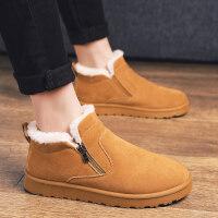 男鞋冬季靴子韩版马丁靴男士皮靴保暖棉鞋雪地靴潮流男短靴套脚鞋