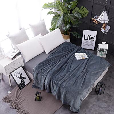 素色珊瑚绒毯子单人法莱绒毛毯双人纯色保暖床单学生宿舍1.8床 深灰色 深灰