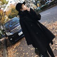 新年特惠2019秋冬新款韩版小香风时尚斗篷大衣中长款毛呢外套女潮 黑色
