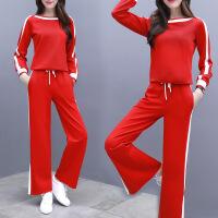 新颖潮牌运动套装女春秋季2019新款女士韩版长袖条纹阔腿裤洋气休闲两件套