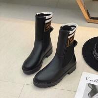 马丁靴女英伦风2018秋冬新款针织弹力袜子靴粗跟短靴女复古机车靴
