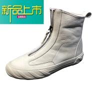 新品上市马丁靴男雪地靴高帮冬季棉鞋马丁鞋18新款潮百搭真皮英伦风短靴
