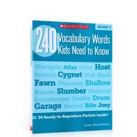 英文进口原版Scholastic学乐出版练习册 240 Vocabulary Words Kids Need to K