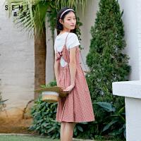 森马2020夏季新款套装裙女纯棉上衣棉麻格纹吊带裙两件套裙子潮