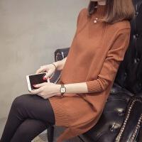 中长款毛衣女加绒加厚秋冬季2018新款内搭半高领针织打底衫毛衣裙
