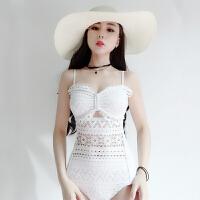 性感连体三角泳衣女白色蕾丝镂空显瘦大小胸钢托聚拢遮肚学生