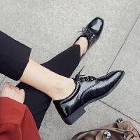 原宿小皮鞋女秋2018新款布洛克网红单鞋ins复古chic方头英伦女鞋