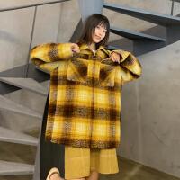 撞色格纹毛呢外套女中长款韩版春装2019新款翻领口袋设计羊毛大衣