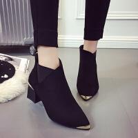 马丁靴女2019春季新款韩版时尚金属头短靴女式绒面粗跟中跟单靴子