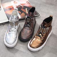新款圆头时尚女式皮靴2019秋冬皮靴女纯色时装靴单里加绒鞋子女
