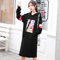 2018新款韩版加绒冬装 孕妇秋装上衣孕妇连衣裙中长款孕妇卫衣秋装