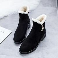 棉鞋雪地靴女短筒加厚学生保暖棉靴子2018冬季韩版短靴加绒马丁靴