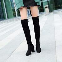 促销绒面显靴子女冬弹力靴 高跟粗跟长筒卡其色大码40-41批发 黑色