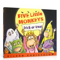 顺丰发货 英文原版 Five Little Monkeys Trick-Or-Treat 五只小猴不给糖就捣蛋 廖彩杏