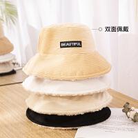 羊羔毛渔夫帽子女冬季韩版潮百搭冬天保暖毛绒灯芯绒毛线针织盆帽