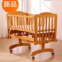 欧式多功能婴儿床实木摇篮床新生宝宝摇摇床带滚轮