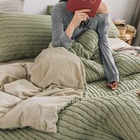 秋冬款针织保暖珊瑚绒三件套加厚1.2 简约被套床单床品四件套1.8m Y
