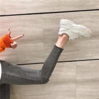 真皮小白鞋2019春圆头韩版厚底网红街拍老爹鞋休闲运动鞋系带单鞋
