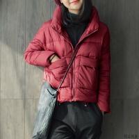 新款酒红色上衣轻薄韩版修身短款冬季外套高领女士羽绒服 酒红色