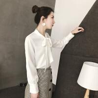 蝴蝶结衬衫女长袖2018秋冬新款领口系带职业女士保暖加绒加厚衬衣