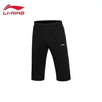 李宁短裤七分卫裤男士训练系列吸汗男装舒适针织运动裤AKQL049