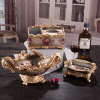 欧式水果盘三件套家居奢华创意现代客厅茶几摆件树脂家用果盘套装 银色 丝纹果盘三件套