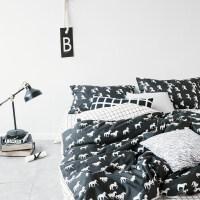 简约床上用品四件套全棉纯棉被套床单双人床笠被子宿舍三件套 1.5米床( 床笠款)