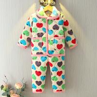 儿童睡衣男童冬季法兰绒三层夹棉加厚套装珊瑚绒宝宝中大童家居服