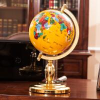 宝石地球仪 摆件 书房办公室摆件 礼品老总老板办公桌装饰品 直径15CM 高26CM黄