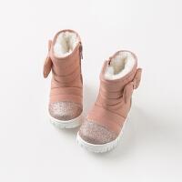 davebella戴维贝拉童装冬季新款女童靴子宝宝加绒保暖棉靴DB11602