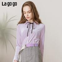 【清仓5折价179】Lagogo/拉谷谷2019年春季新款时尚淑女风女长袖衬衫IACC43ZG38
