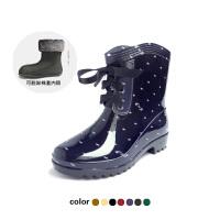 女士雨靴雨鞋韩版时尚四季豹纹雨鞋女式高跟波点水靴保暖防滑短筒雨靴