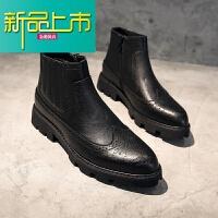 新品上市冬季马丁靴男中帮皮靴英伦短靴高帮皮鞋男鞋靴子尖头