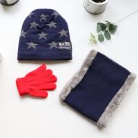 儿童帽子围脖秋冬季加绒男宝宝加厚童女孩套头帽送手套