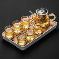 透明玻璃茶具套装家用小套功夫茶杯茶台简约客厅红茶泡茶壶盘整套