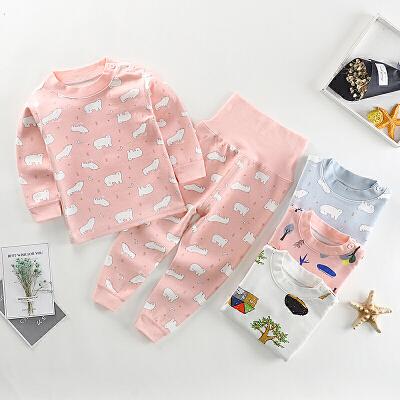 婴儿舒棉宝宝纯棉内衣裤套装高腰护肚裤