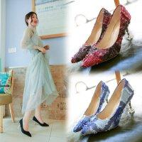 浅口高跟鞋女布鞋尖头细跟中跟5cm优雅性感单鞋仙女鞋拼色ol工作