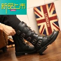 新品上市18冬季新款高筒男靴大码皮靴46男长靴45马丁靴男朋克靴子潮男