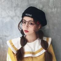 贝雷帽女夏季薄款英伦复古韩版潮秋冬季日系八角帽子黑色春秋百搭