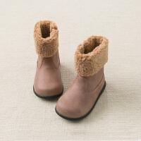 davebella戴维贝拉童装冬季新款女童靴子宝宝加绒保暖棉靴DB11598