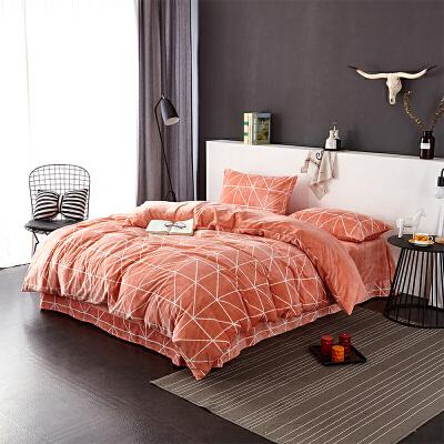 当当优品暖绒四件套 抗静电加厚细密保暖床品 双人加大1.8米床 桔橙当当自营 MUJI制造商代工
