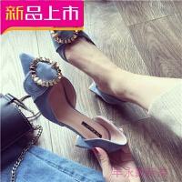 秋季女鞋子新款潮单鞋高跟鞋尖头浅口粗跟铆钉圆扣