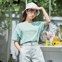森马短袖T恤女2020新款夏季潮ins宽松印花上衣学生圆领套头体恤衫